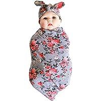 (アイム) iiniim ベビー ラップ 赤ちゃん フリース 寝袋 おくるみ ブランケット 新生児 着る毛布 コットン 暖かい 睡眠袋 幼児 花柄 ヘッドバンド付 3色