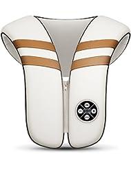 首のマッサージャー - 肩/首/背中のためのインテリジェントな多機能マッサージは、体の痛みを和らげます - ホワイト