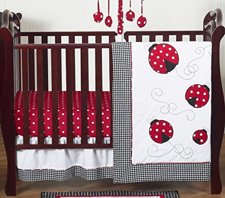 Red and White Polka Dot Ladybug Baby Girl Bedding 4 Piece Crib Set Without Bumper [並行輸入品]