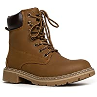 J. Adams Lace up Combat Boot - Casual Outdoor Slip On Ankle Bootie - Military Mid Calf Fashion Round Toe Shoe - Trek