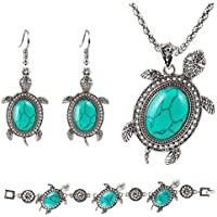 Fascigirl Women Necklace Set Include Turtle Pendant Necklace Dangle Earring And Bracelet