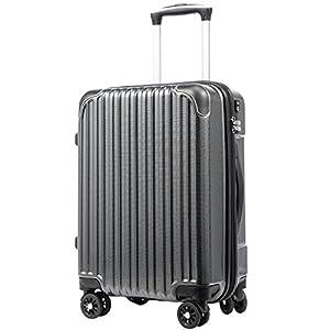 [クールライフ] COOLIFE スーツケース キャリーバッグダブルキャスター 一年安心保証 機内持込 ファスナー式 人気色 超軽量 TSAローク (M サイズ(24in), カーボン)
