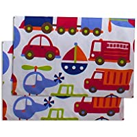 Bacati Crib Fitted Sheet Transportation Multicolor Printed (Pack of 2) [並行輸入品]