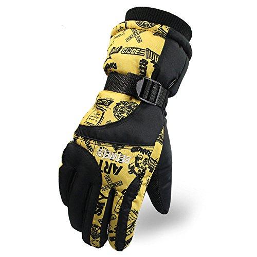 Tomoto防撥水 防寒 透湿 アウトドア 冬用 バイク マリンレジャー 登山 バイク スキー 手袋グローブ (イエロー2, 女性用)