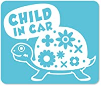imoninn CHILD in car ステッカー 【マグネットタイプ】 No.53 カメさん (水色)