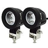 Safego 10W LED作業灯 CREE製 丸形 狭角 ワークライト LED車外灯農業機械 オフロード車両や公園 庭の照明など フォグランプ ホワイト 6000K 12V-24V対応 10WR-SP-2個