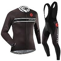 Cycling Jersey Set Wen長袖(S ~ 5X L、オプション:よだれかけ、3dパッド) n15 (3D pad)(Chest 50-53inchs) ブラック