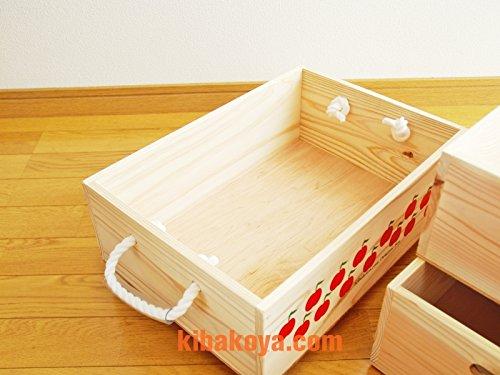 [1段バラ売り ひもタイプキャスター付き] レトロなりんごちゃん柄のおもちゃ箱、収納箱 ワイン木箱(ボックス) オリジナルロゴ入り