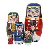 【ノーブランド品】木製 置物 ロシア民芸 ロシアの人形 マトリョーシカ人形 5個