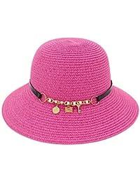 Ruiyue 夏のストロー帽子、夏の大きな縁取り帽子メタルキーベルトビーチ日焼け止め帽子女性のための折り畳み式の麦わら帽子 (色 : Red)