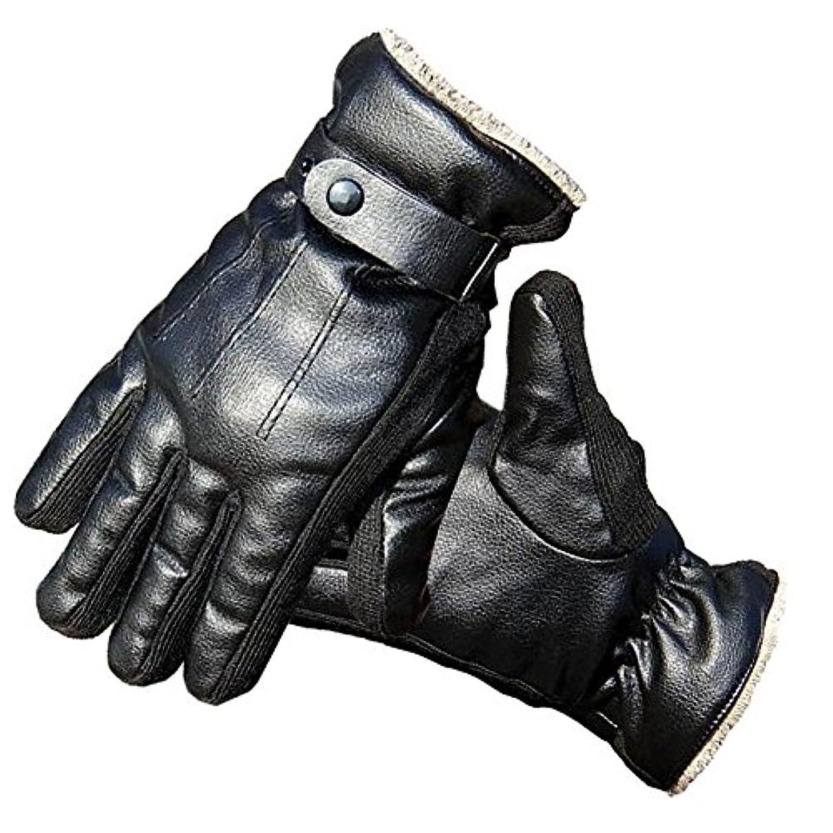 ゲージただやる魅了するRabiya グローブ 手袋 メンズ PUレザー オートバイク ドライブ 裏起毛 サイクリング アウトドア 自転車 防寒 黒