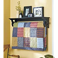 (Black) - The Lakeside Collection Deluxe Quilt Rack with Shelf (Black)