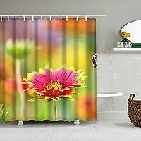 装飾のシャワー・カーテンの多彩な大胆な設計、生地の浴室の装飾セットフック180 * 200 cm、マルチ 193. 花の上に腰掛けた蝶