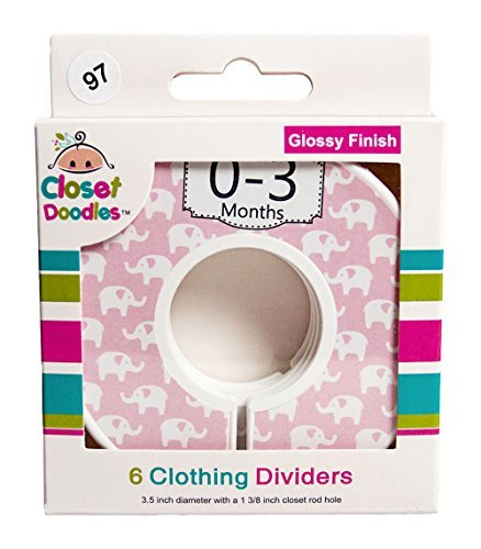 Closet Doodles C97 Elephant Girl Baby Clothing Dividers Set of 6 Fits 1.25inch Rod