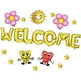 Fenteer バルーンセット 歓迎マイラーバルーン 風船 Welcome 歓迎 ようこそ マイラーバルーン ハート スター 星 ホイルバルーンセット パーティー デコレーション 2タイプ選べる - ゴールド