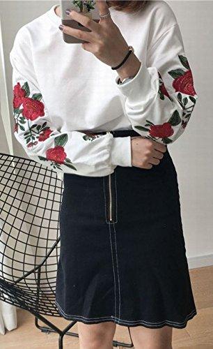 (ステキ ファーム) SUTEKI FARM レディース 薔薇 刺繍 Tシャツ 長袖 ロンT 原宿系 花柄 (ホワイト)
