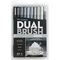 Tombow Dual Brush Pen Art Markers, Grayscale, 10-Pack [並行輸入品]