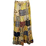 Womens Patchwork Skirts Artistically Inspired Flowy Vintage Ethnic Printed Long Skirts