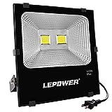 LEPOWER LED投光器 作業灯 100W 8000LM COBチップ 2Mコード スイッチ付き IP66防水 家庭用OK 屋外照明 夜間作業 駐車場 集魚灯 看板灯 18ヶ月保証 (昼白色100W)