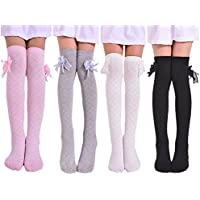 Toptim 4 Pairs Girl's Knee High Socks Over Calf Kids Overknee Stockings Pink/Black/Grey/White Size: Approx 16 inch length 3.5 width in inches. suitable for 2-8 Years Olds