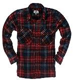 ( UN ANANAS )クール フリース 起毛 チェック シャツ 大きいサイズ 長袖 メンズ 秋 冬 カジュアル トップス (レッド2XL)