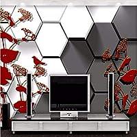 Weaeo 壁紙カスタム写真の壁紙3D黒い白いチェッカーの手描きの花鳥の寝室のリビングルームのテレビの背景-400X280Cm