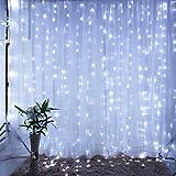 Ameelie クリスマス LED イルミネーションライト 600球 led カーテンライト 防水仕様 8種類点滅パターン 屋外屋内兼用 ロマンチック雰囲気 ガーデンパーティー 飾りライト6M*3M (ホワイト)