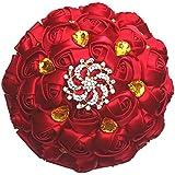 dwedding高度なカスタマイズ花嫁花嫁ウェディングHolding Bouquet Rosesクリスタルシルクリボン18 cm / 7