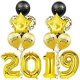BESTOYARD 2019おめでとう大学院装飾セット紙吹雪ラテックススターレター印刷風船卒業パーティー用品(黒と金色)