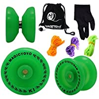 MAGICYOYO Responsive YoYo K1-Plus Glow in the Dark Green Yoyo with Yoyo Sack + 3 Strings +Yo-Yo Glove Gift by MAGICYOYO