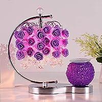 1 PCSヨーロッパの暖かい結婚式のウェディングルームアロマテラピーランプベッドルームベッドサイドランプ調光アートランプ赤紫ピンクAP7111927PY (Color : 1 pcs Purple)