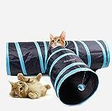 Asltoy® 猫 トンネル ペット おもちゃ キャットトンネル ペット用品 猫遊宅おもちゃ 3つのトンネル プレイ 折りたたみ式 (ブルー)