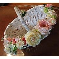 アートフラワーバスケットL(イエロー×ピンクカラー)幅約38cm【結婚式 ブライダル プチギフト用 花かご アーティフィシャルフラワー】