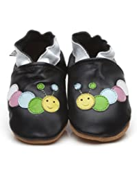 Soft Leather Baby Shoes Caterpillar Black [キャタピラーソフトレザーベビーシューズブラック] 6-12 months (12 cm)