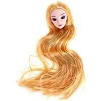 Domybest 人形頭 人形アクセサリー ウィッグ ヘア 人形ヘッド バービー ケーキ人形 3Dの目 DIY 玩具 ドール髪 かつら ボディアクセサリー キット 着せ替え人形パーツ ごっこ遊び 子供 キッズ 女の子 可愛い イエロー