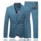 Cloud Style(コゥロード スタイル)ファッション メンズビッグジャケット 高品質 ジェントルマン ウエディング チェックスーツ スリムカジュアルスリーピーススーツ6色【M-5XL】(ブルー,L)