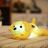 Plush Dog Doll withカラフルなLEDライトGlowing Dogs with Embroidery Children Toys forガールズキッズ誕生日ギフト M イエロー