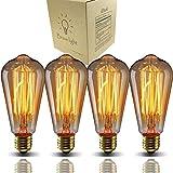 Bravelight-エジソン電球 60W E26/E27口金 ST64 4個入り ヴィンテージエジソンランプ タングステンフィラメント電球(クリア) アンティーク風 調光器対応 ホーム照明装飾用器具 サブ照明 電球付け替え …
