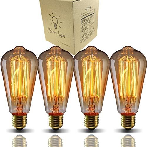 60W E26/E27口金 ST64 4個入り ヴィンテージエジソンランプ タングステンフィラメント電球(クリア) アンティーク風 調光器対応 ホーム照明装飾用器具 電球付け替え