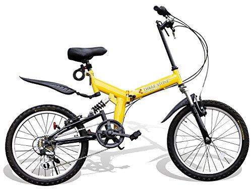 折りたたみ自転車 20インチ シマノ6段変速ギア フルサスペンション AJ-01 マウンテンバイク フロントライト/前後泥除け/ワイヤーロック錠/折り畳み自転車/MTB/小径車/PL保険 (イエロー)