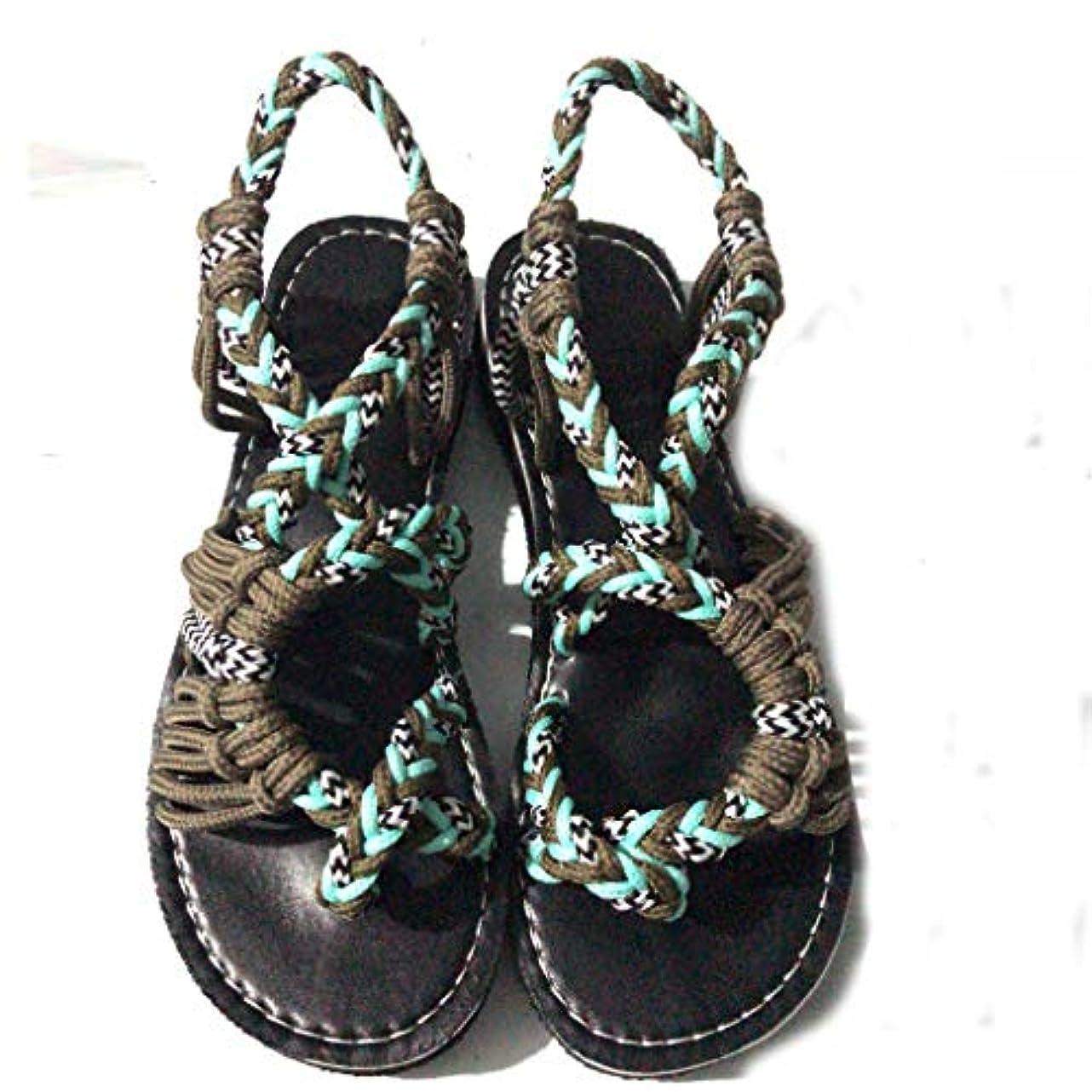 兄弟愛反映する好きレディース サンダル Tongdaxinxi 女性の麻のロープのフリップフロップ サンダル 夏のファッション ローマのビーチの靴 スリッパ 人気 軽量 おしゃれ 大きいサイズ 靴 美脚 レディース サンダル