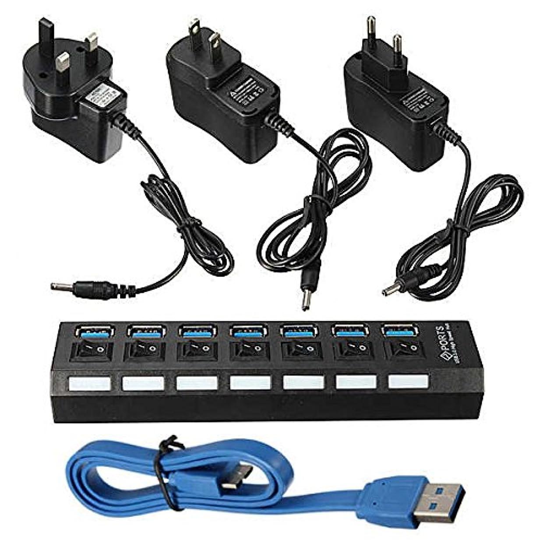 結晶侵入するめ言葉7ポート USB 3.0 ハブ オン/オフスイッチ+EU/US/UK AC 電源アダプター PC用 (EUプラグ)
