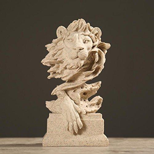 Wddwarmhome レトロクリエイティブ樹脂彫刻ライオンクラフト装飾カフェパーラーオフィス装飾家具ギフト、16 * 14 * 31センチメートル ( 色 : A )