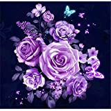 Kasting 5D Diamond Painting Kits for Adults Full Drill, DIY Cross Stitch Crystal Mosaic Picture Artwork for Home Wall Decor Gift Rose 30X30cm