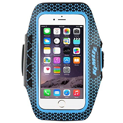アームバンド スマホ ランニング 透明 薄型 鍵ポケット 携帯 ケース 調節可能 男女兼用 スポーツ ブルー S