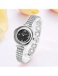 レディースレディクラシッククォーツアナログウォッチラグジュアリーラインストーンドレスブレスレット腕時計(シルバーブラックプレート)