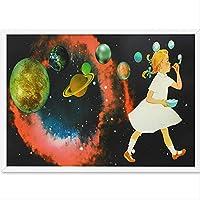 Liwendi 抽象ガールバブル太陽系スペース銀河大学漫画幼稚園ポスターアートプリント装飾壁絵40×60センチ