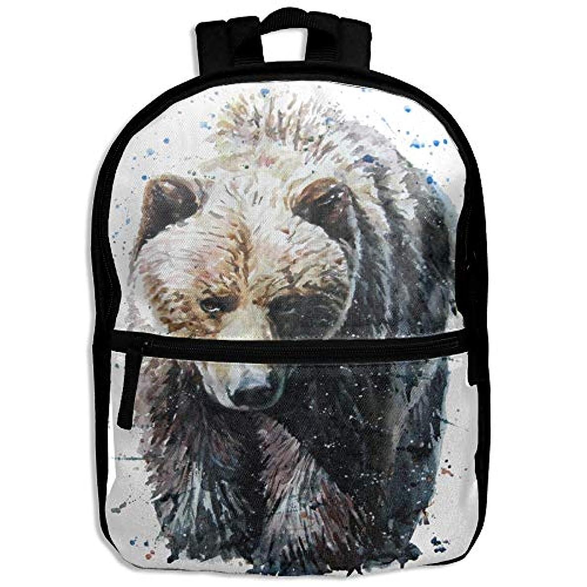 市場鍔手術キッズバッグ キッズ リュックサック バックパック 子供用のバッグ 学生 リュックサック 熊 水彩 アウトドア 通学 ハイキング 遠足