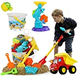 TEMI Beach Sand Toys Set with Water Wheel, Dump Truck, Bucket, Shovels, Rakes, Watering Can, Molds, Outdoor Tool Kit for Kids
