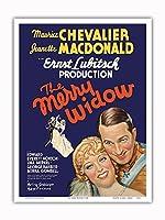 The Merry Widow - 主演 Maurice Chevalier, Jeanette MacDonald - Ernst Lubitsch監督 - ビンテージなフィルム映画のポスター c.1934 - アートポスター - 23cm x 31cm